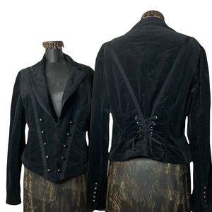 WHBM Black Corduroy Corset Military Jacket Sz12 Goth Vampire Pirate Halloween
